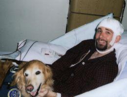 Sammy dog visiting a patient
